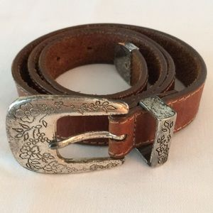 Western style brown leather belt, 34""